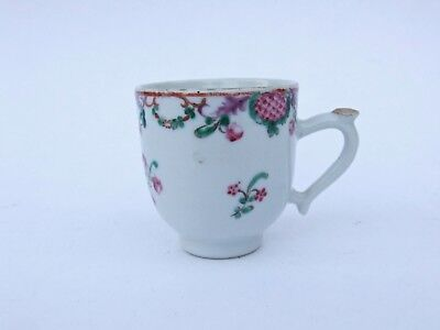 ANTIQUE CHINESE PORCELAIN FAMILLE ROSE COFFEE CUP CAN 18th - 19th C QIANLONG INT