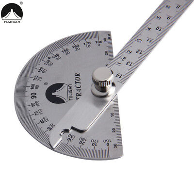 Stainless Steel 180 Degree Adjustable protractor Thicken Rotary Measuring Ruler
