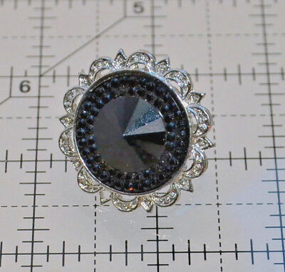 vintage black cocktail ring large round silver filigree adjustable stretch