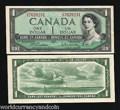 Canada 1 Dollar P74 B 1954 Young Queen Scarce Unc Money Bill Canadian Bank Note