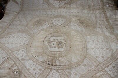 antique lace coverlet french tambour bedspread netting floral ruched needlework