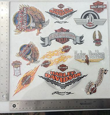 Lot Of 14 Vintage Harley-Davidson Decals, Inside Window Older Harley Stickers.