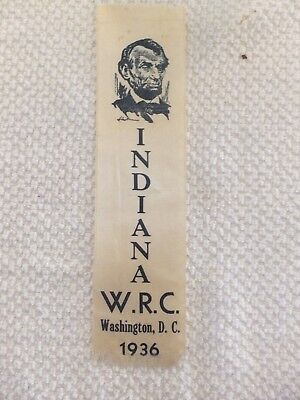 1936 Indiana W. R. C. Washington, D.c.  Ribbon With Abraham Lincoln Image---F37