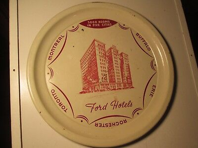 Vtg Ford Hotels Tin Litho Beer Tray Drink Serving Erie Buffalo Toronto Montreal
