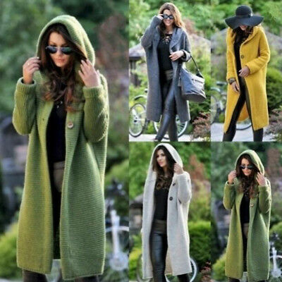 Women's Baggy Cardigan Coat Tops Ladies Chunky Knitted Sweater Jumper Hood Coats