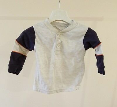 Little Sprouts Baby Boy Top Tee T-Shirt Polo Size 12M Blue Gray Color Long Sleev