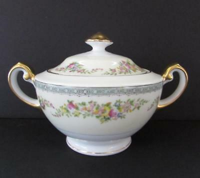 "Vintage MEITO CHINA Hand Painted Footed Sugar Bowl with Lid 4"" MEI339"