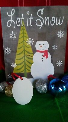 Christmas Oval Ornaments TWO SIDED WHITE Aluminum Dye Sublimation Blanks $0.85ea