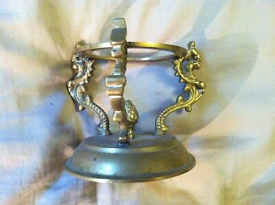 "Vintage Brass Dragon Base Candle Holder w/o Glass 3 3/8"" T"