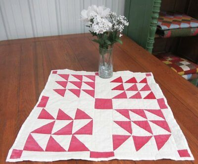 "Cottage c 1930s PINK Birds in Air VINTAGE Table Quilt Doll 24"" x 24"""
