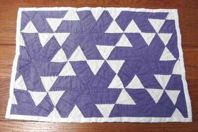 "Cottage c 1930s Purple Pinwheel VINTAGE Table Quilt 16"" x 11"" Doll"