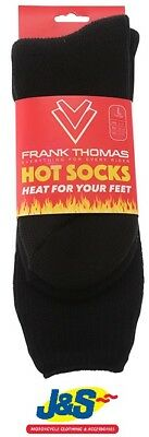 Frank Thomas Thermal Hot Socks Thick Long Winter Motorcycle Motorbike Black J&S