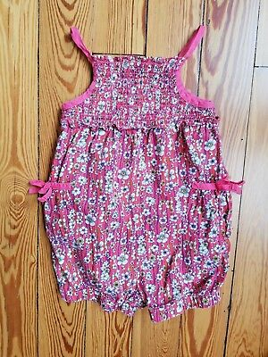 Liberty of London Floral Elastic Smocked Romper Sleeveless Pink, Size 3T