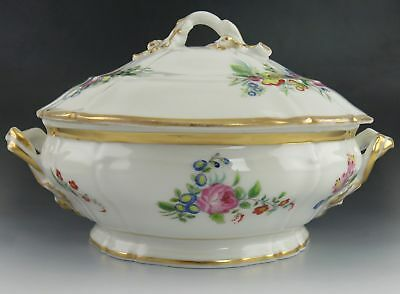 Attractive Antique Paris Porcelain Handpainted Floral Covered Serving Dish
