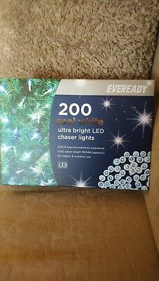 200 Cool White Ultra Bright LED Chaser Lights 8 Function In/Outdoor NEW IN BOX