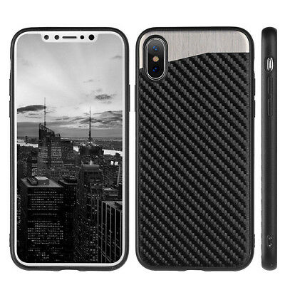 Magnetic Backplate Carbon Fiber TPU Rubber Case Cover For iPhone XS MAX XR X 10