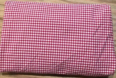 PBK Pottery Barn Kids Red White Gingham Check fitted Crib Sheet Cottage EUC