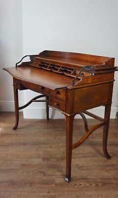 Theodore Alexander Reproduction Walnut & Leather Campaign Writing Desk Table