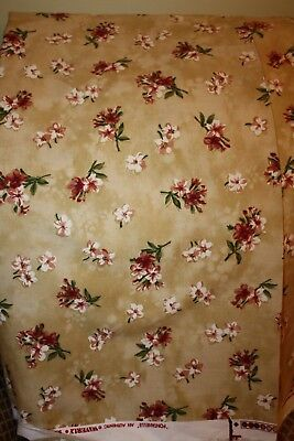"""Waverly FONTANELLE Antique Gold FLORAL Cotton DRAPERY Fabric 55"""" x 6 Yards"""