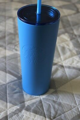 9571a88ea0c NEW STARBUCKS 2018 Stainless Steel Matte Blue 16 fl oz Cold Cup Tumbler  Siren