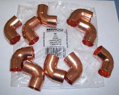 "(10) Nibco Copper 90 Degree Elbow 3/4"" CXC CP-607"