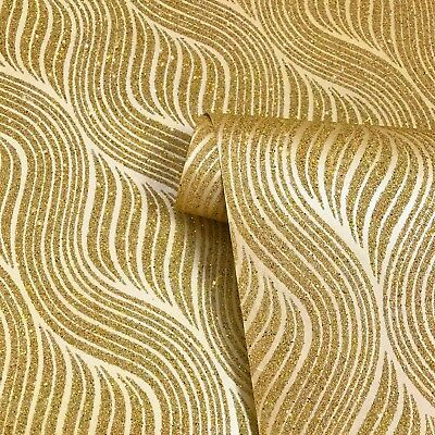 Sparkly Wave Mica wallpaper wall coverings Gold metallic Glitter Vermiculite 3D