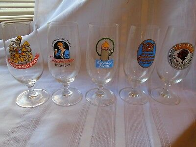 A Set of 5 Germany Footed Beer Glasses