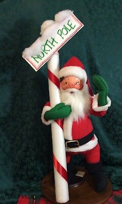 AnnaLee Mobility Doll Christmas Santa With North Pole Sign Large 30 Inch