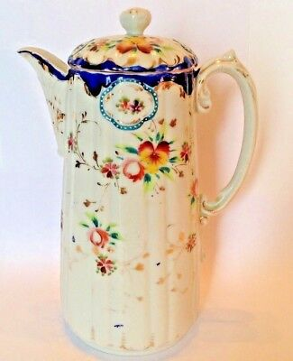 Nippon Chocolate Or Teapot - White With Hand Painted Pansies - Blue Rims - Japan