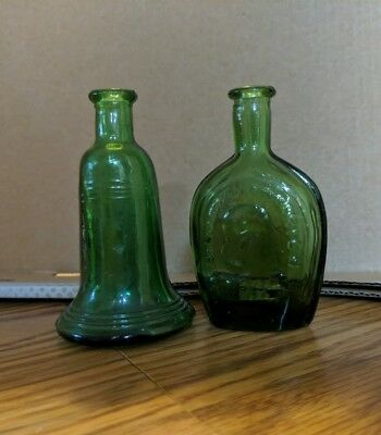 Vintage Liberty Bell & Benjamin Franklin Green Glass Bottles 2 set