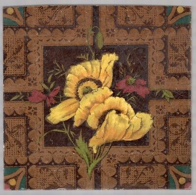 Campbell Brick & Tile - c1880 Yellow & Burgundy Floral - Aesthetic Antique Tile