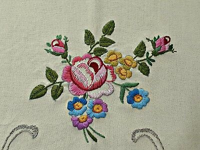 Vintage Floral Art Roses Embroidery Ivory Pink Green Linen Blend Tablecloth