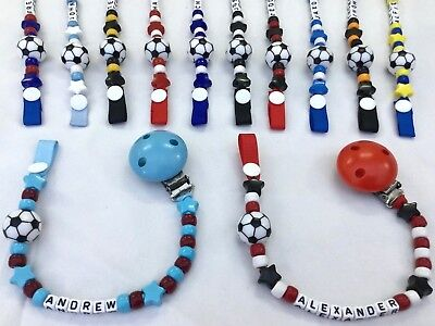 ⚽ PERSONALISED DUMMY CLIP  ⚽ Name Up to 12 Letters ⚽ FOOTBALL ⚽ Colour Choice ⚽