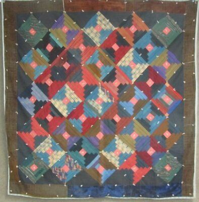 Farmhouse PA c 1900 Amish Mennonite QUILT Log Cabin Antique Industrial