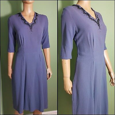 Beautiful 1940s Vintage Romney Cornflower Blue Bead Detail Neckline Dress.