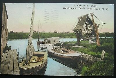 Westhampton Beach Long Island NY Fisherman's Outfit Postcard