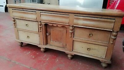 Antique Victorian farmhouse kitchen pine dresser base /sideboard