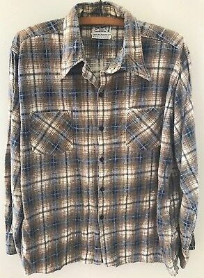 Vtg 70s Shadow Plaid Flannel Shirt. 100% Cotton. Well Worn and Soft! Large