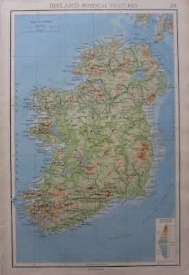 1942 Map Ireland Central Plain Eire Wicklow Mountains Of Mayo Golden Vale