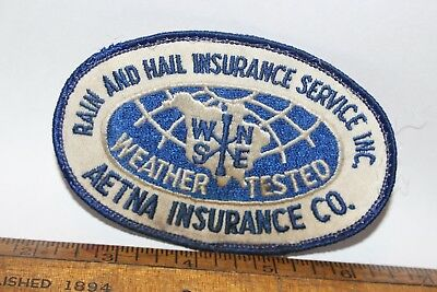 Vintage Rain And Hail Insurance Service Inc Patch Sew On Badge & Aetna Co Tested