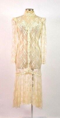 Vintage Ivory Lace Sheer Beaded Wedding Dress Gown Drop Waist Embroidered Size S