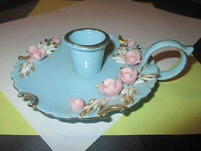Kitschy Kitchen Chamber Candle Stick Holder L'amour Japan Pink Florals On Blue