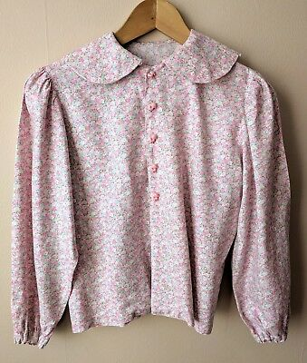 70s vintage girls tweens blouse top shirt pink floral brushed cotton ditzy