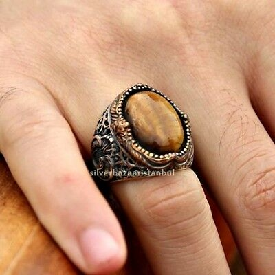Tigers Eye Stone Turkish Jewelry Ottoman 925 Sterling Silver Mens Ring ALL SİZE