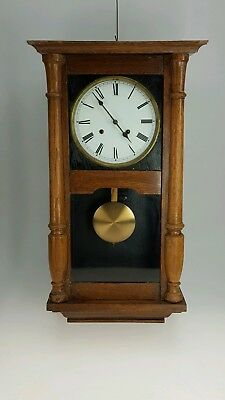 Antique 8 Day Wall Clock Wooden Case Pendulum Key Chimes  Spares or repair