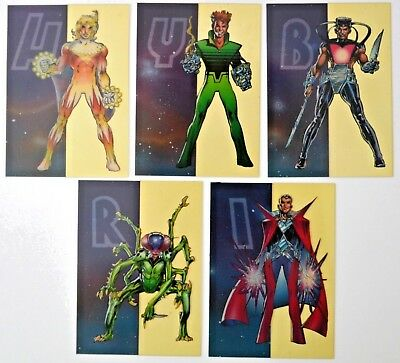 5 Classic Deathwatch 2000 Hybrid Cells trading cards 1993 Continuity comics