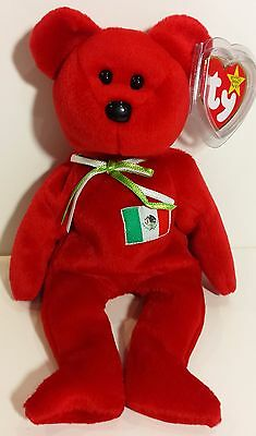 "TY Beanie Babies ""OSITO"" Mexico Flag Teddy Bear - MWMTs! GREAT GIFT! MUST HAVE!"