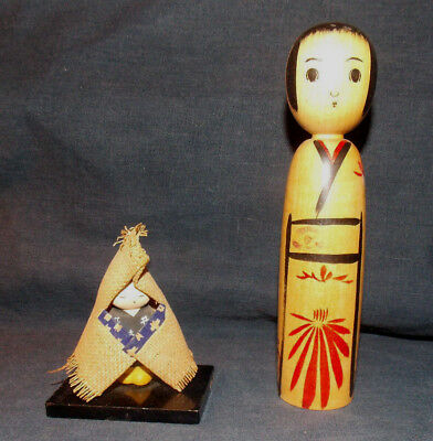 """Unique Vintage Japanese Kokeshi Doll Signed & small gofun doll! 6.25"""" tall & 3"""""""