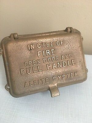 Beautiful Old NOS Antique Vtg Bronze Brass Alfite System Fire Alarm Box Station