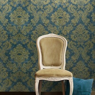 Wallpaper Blue Gold Metallic Damask Textured Wall Coverings Victorian embossed